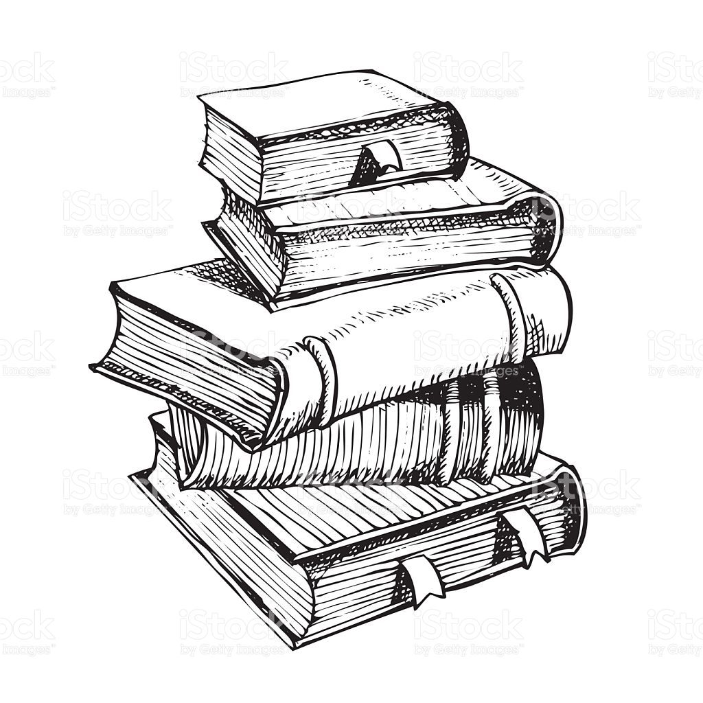 Vector Hand Pen Drawing Of Pile Of Books Book Drawing Pile Of Books Pen Drawing
