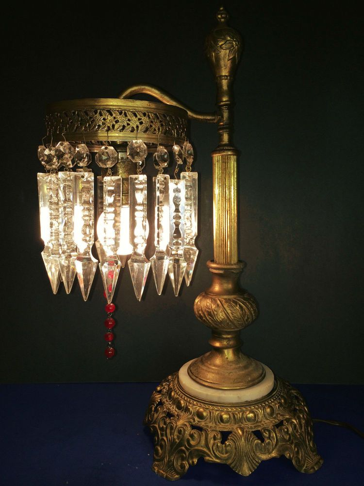 Exquisite antique victorian table lamp w large 5 notch cut exquisite antique victorian table lamp w large 5 notch cut crystals c1920 aloadofball Choice Image