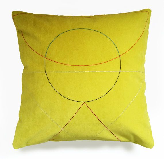 Embroidered 'Outlines' cushion Yellow by FunMakesGood on Etsy  Our new embroidered 'Outlines' cushions combine striking geometry with soft textiles. Each cushion is embroidered in-house using the finest silk mix threads onto velveteen fabrics to create a unique and contrasting design. The reverse of the cushions are made in velveteen with contesting coloured zip details.