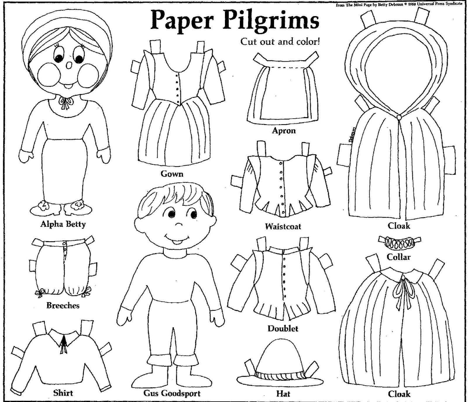 Mostly Paper Dolls: PAPER PILGRIMS to Cut Out and Color! 1988 ...