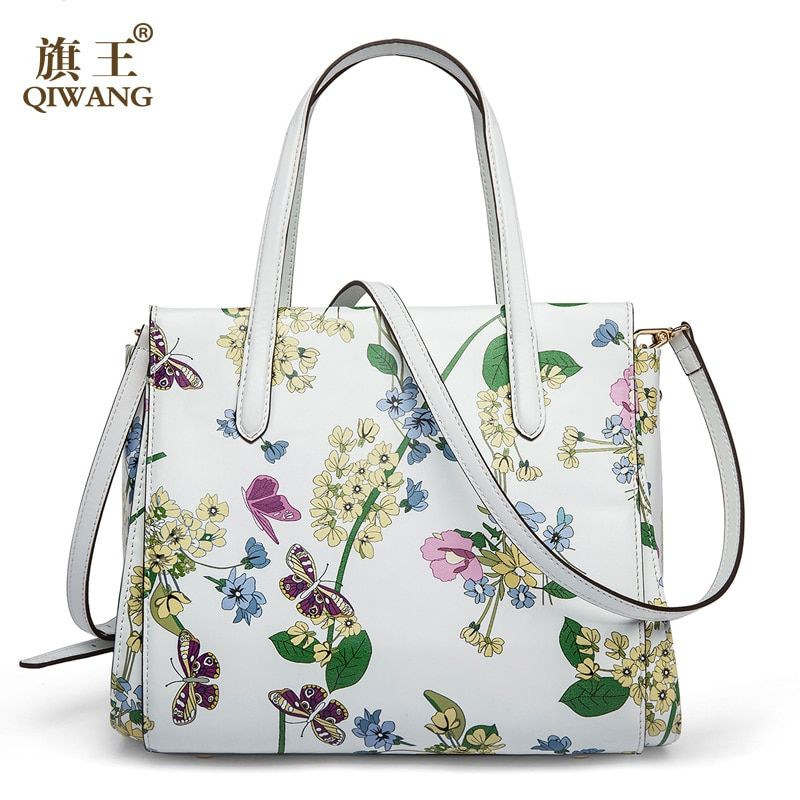 e23e89ee6 QIWANG 2018 New Designer Women Handbags Genuine Leather Butterfly Flower  Hand bags Summer White Bag Ladies Brand Flower Purse Price: 120.05 & FREE  Shipping ...