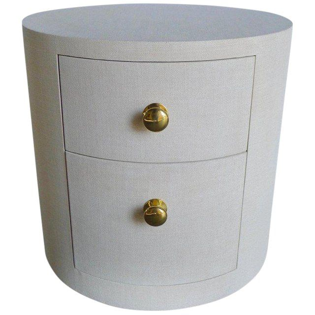 Best Paul Marra Linen Wrapped Round Nightstand For Sale Round 400 x 300