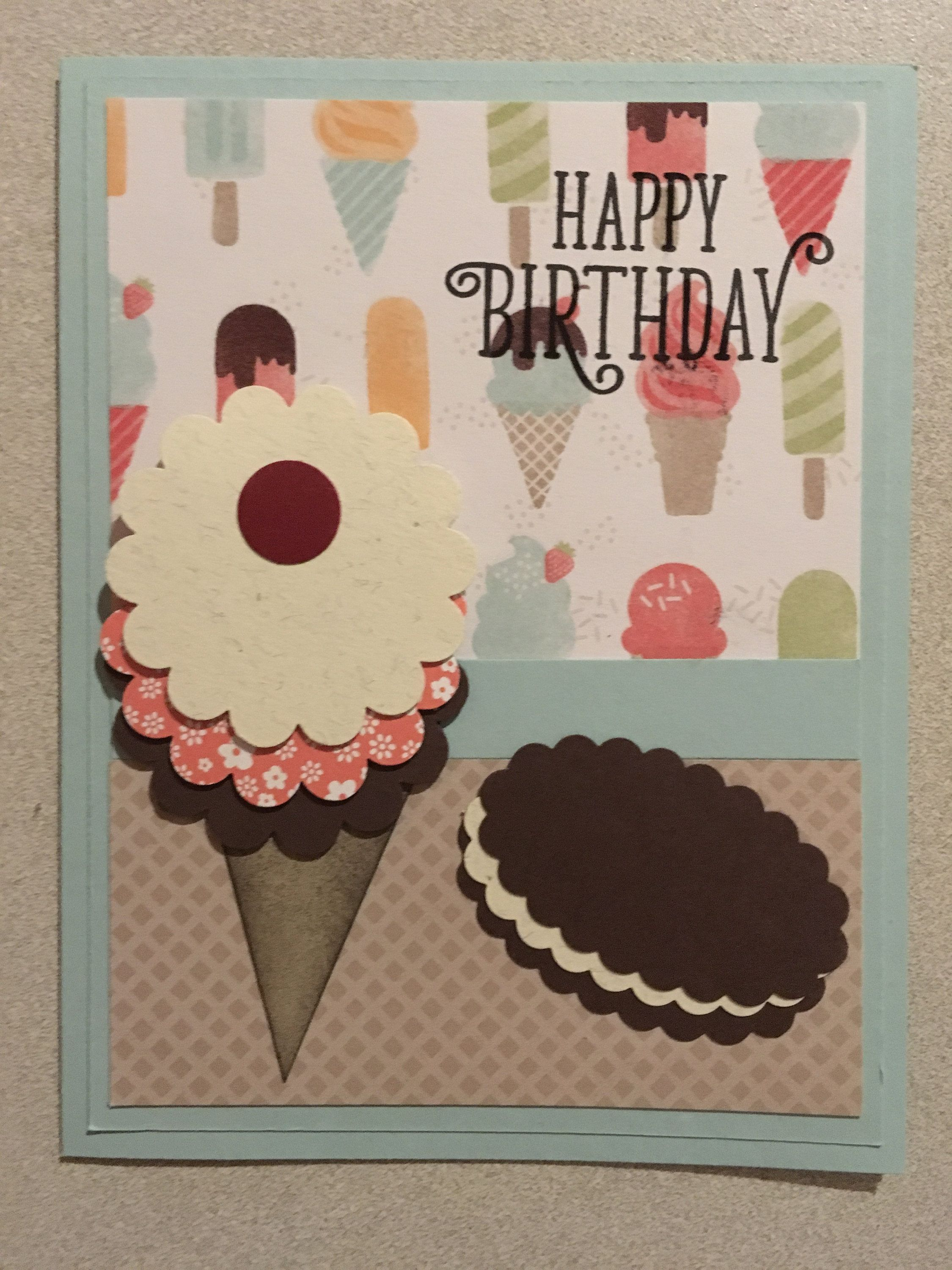 Ice Cream Happy Birthday Greeting Card My Cards Pinterest
