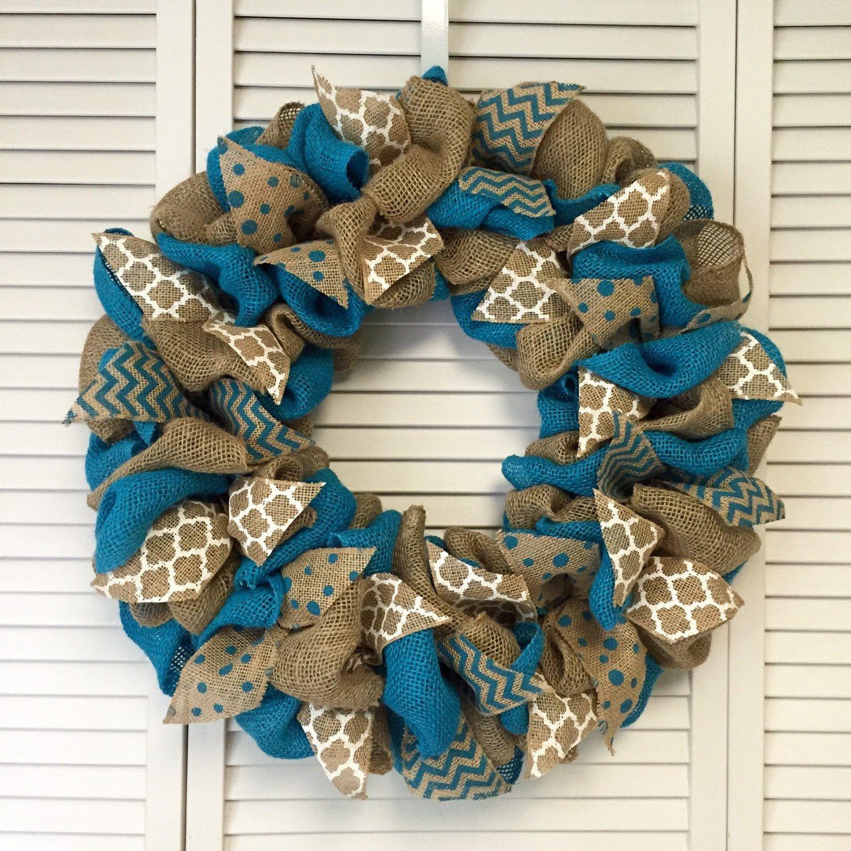 Crafty · Large Turquoise Burlap Wreath ...