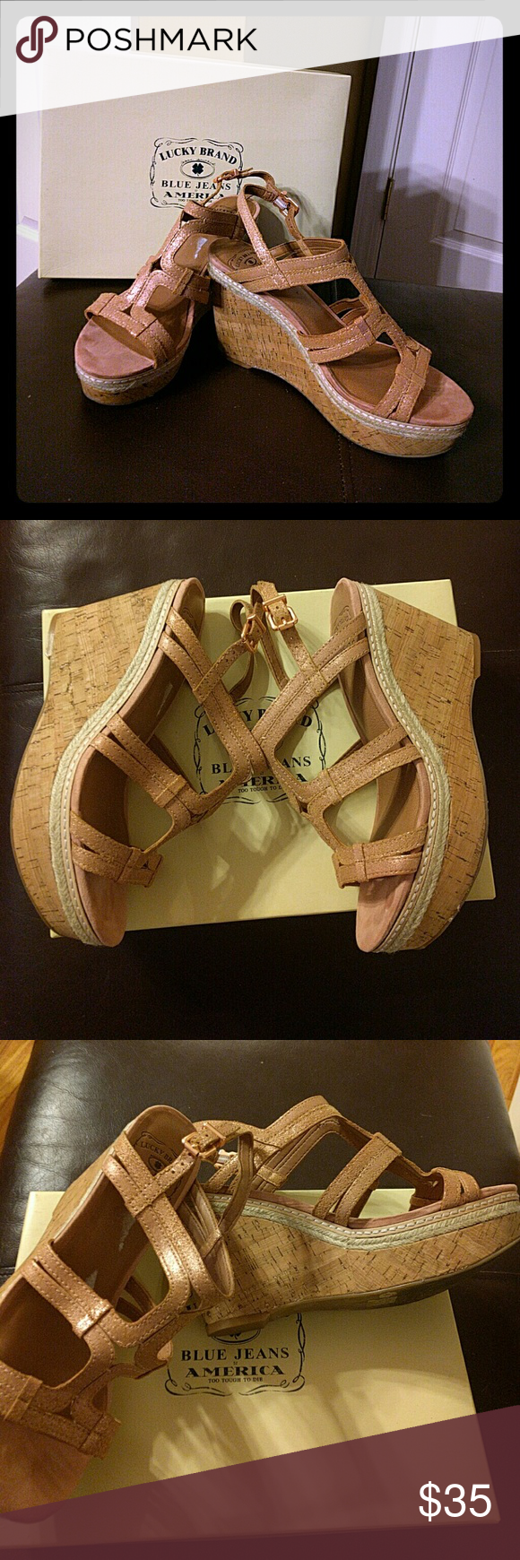 LUCKY BRAND WEDGES BEAUTIFUL *Rose Gold* Lucky wedges - Worn ONCE, like new! With Box Lucky Brand Shoes Wedges