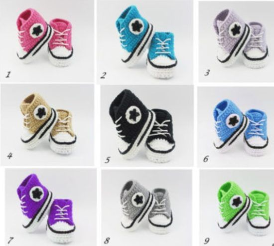 00d3d0eb829e Crochet Converse Baby Booties Pattern Free Video Tutorial
