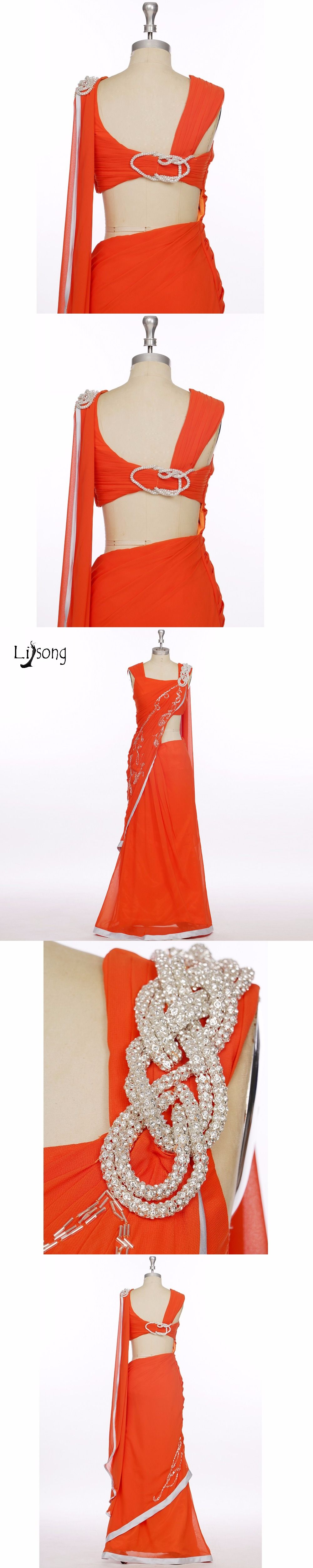 High end india saree real image hot red pieces prom dresses with