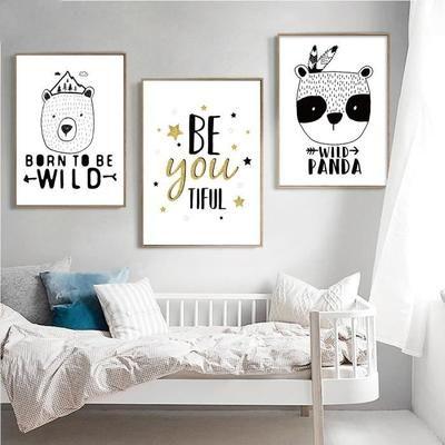 Affiche imprimé panda affiche panda noir toile blanche peinture