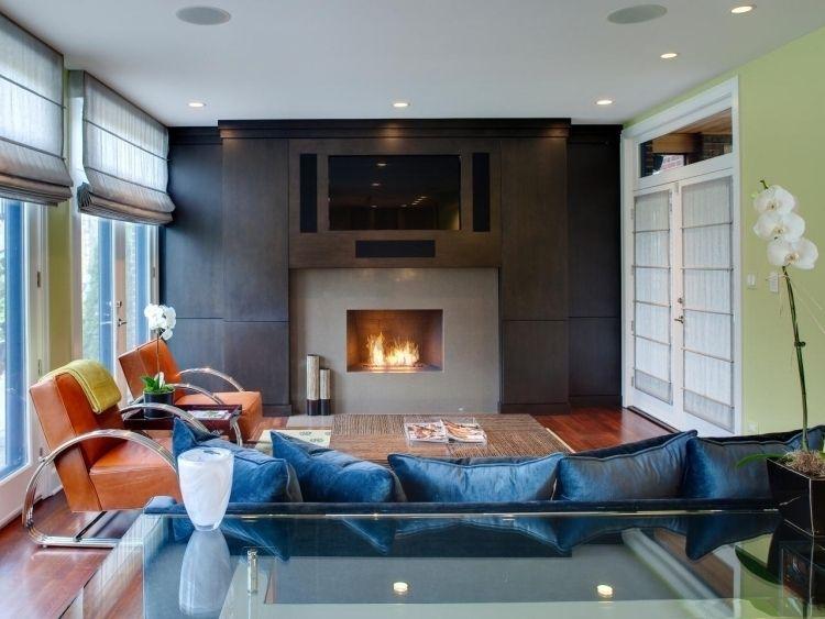 Nach Feng Shui Wohnzimmer einrichten -braun-leder-sessel-couch-blau ...