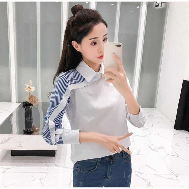 Women Turn-Down Collar Striped Long Sleeve Shirts Button ...