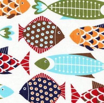Fish Fiesta on white from On Board Fabrics ::