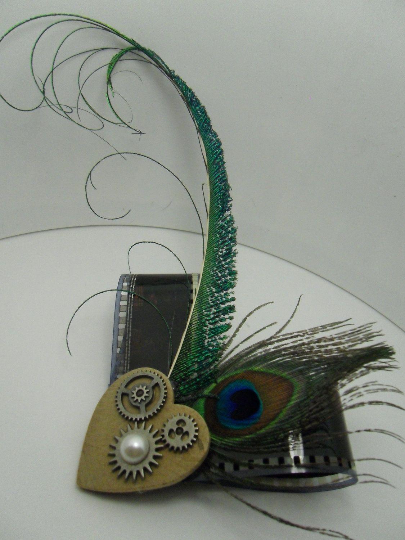 steampunk mechanical heart 35mm film hair by LittlePrettiesbyJess, $13.00