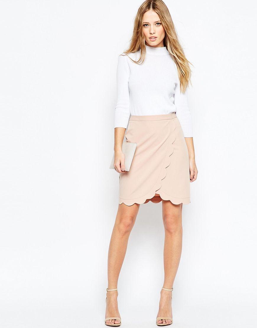 a59807259 Falda de tubo cruzada con detalle festoneado de | MODA | Skirts ...