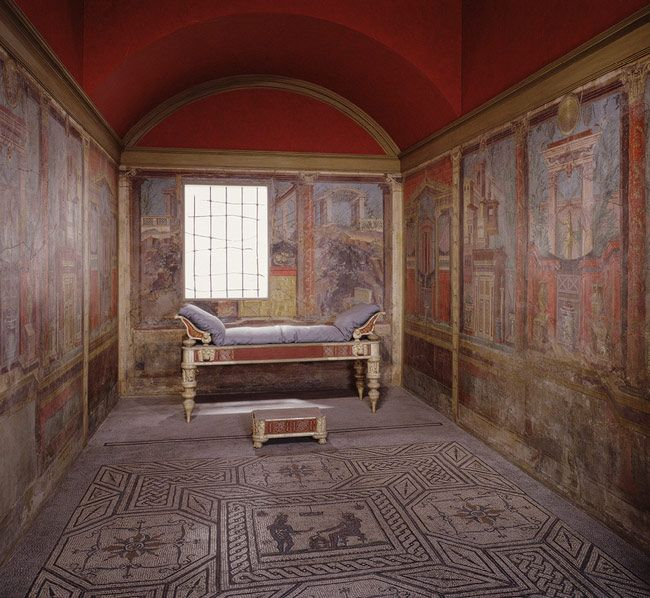 Fresco wall painting in a cubiculum (bedroom) from the