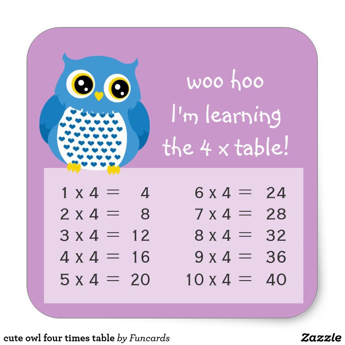 Cute Owl Four Times Table Square Sticker Zazzle Com Back