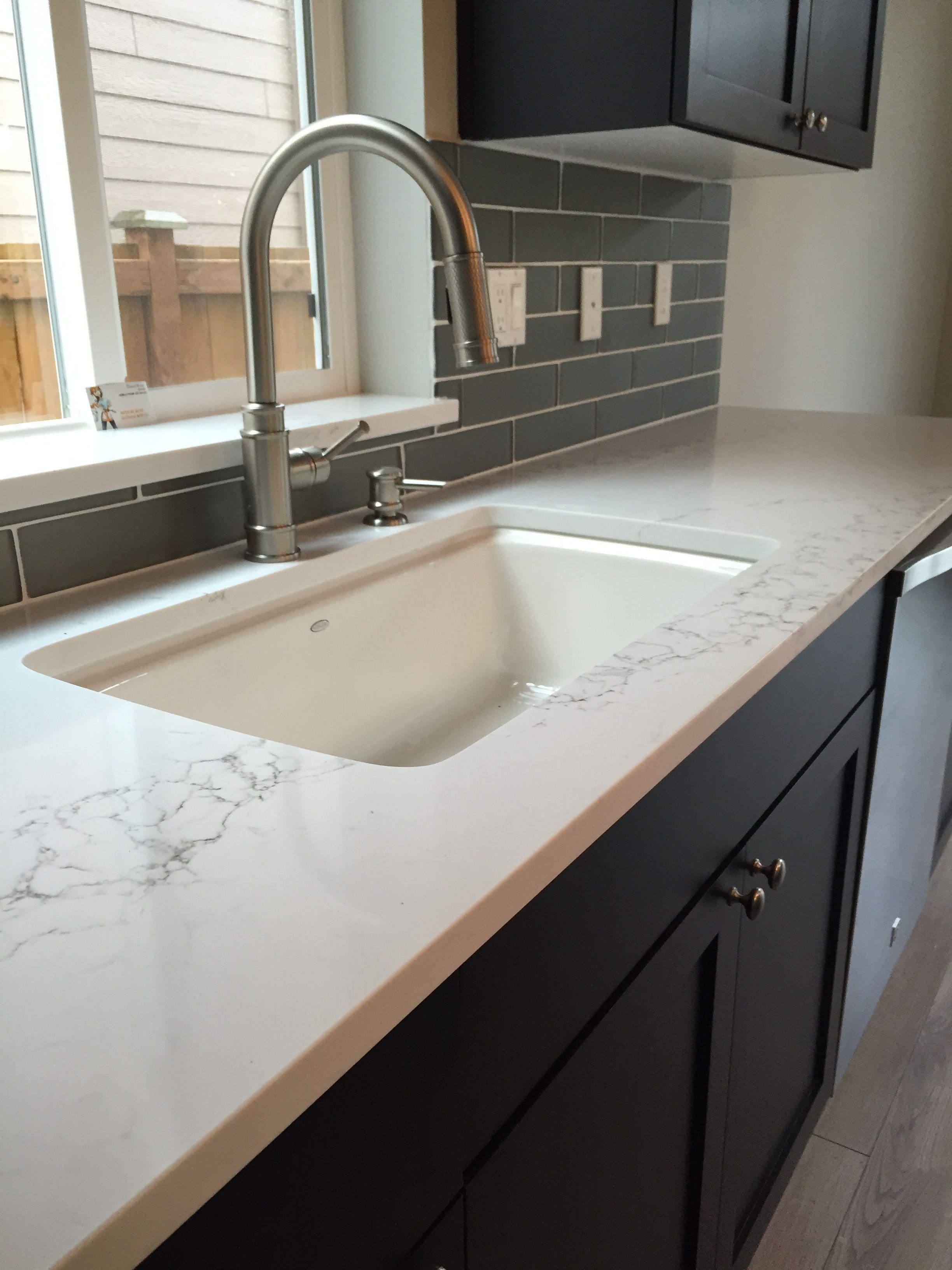 The Glamorous Remodel: Statuario Polished Quartz By Pentel, Glass Tile  Backsplash, Undermount Sink By Kohler