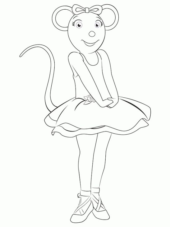 Angelina Ballerina Feeling Excited Coloring Page To Print Nick Jr