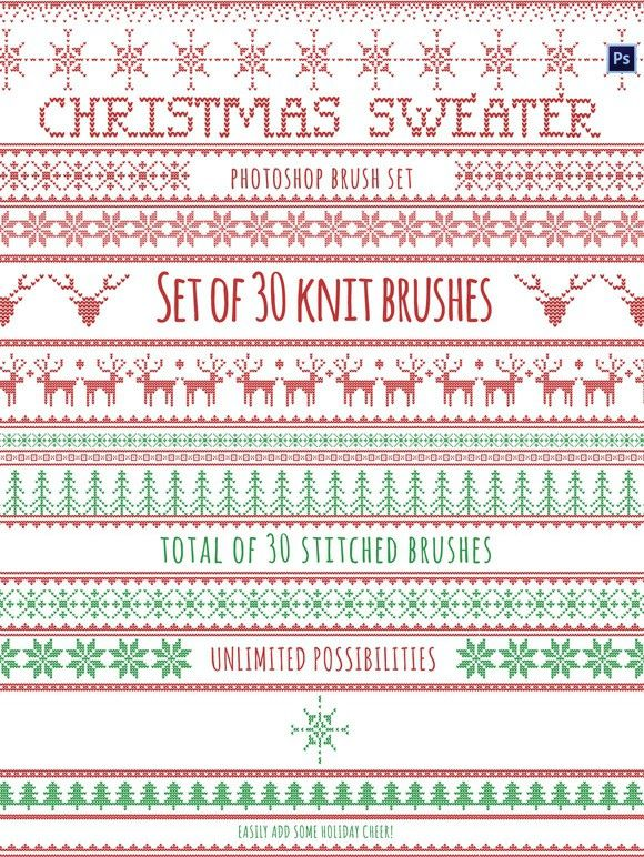 9773ff8d82c02 Christmas Sweater Brushes Photoshop. Christmas Patterns.  14.00 ...