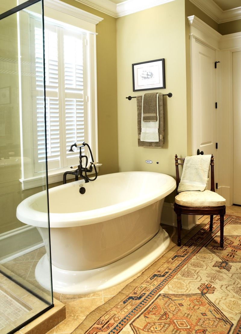 Master bath with cream painted and glazed cabinets, decorative ...