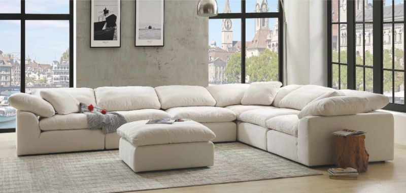 Acme 55130 31 6 Pc Naveen Ivory Linen Fabric Down Feather Foam