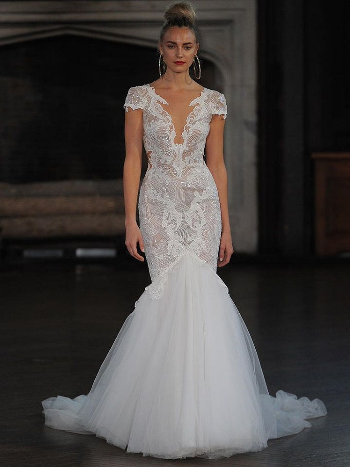 Berta cap sleeve wedding gown with fit and flare tulle | itakeyou.co.uk #wedding #weddingfashion #bridal #weddingdress #weddinggown #bridalgown #weddingdresses #weddinggowns #berta #bridalinspiration #weddinginspiration #engaged