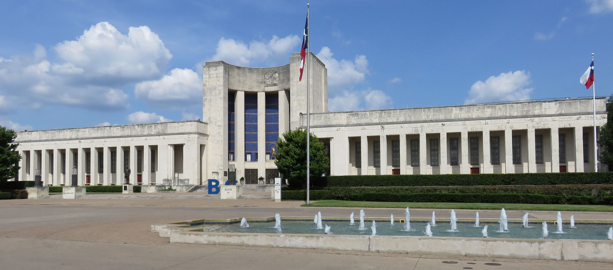 The Hall of State (originally the State of Texas Building) is a building in Dallas's Fair Park that commemorates the history of the U.S. state of Texas and is considered one of the best examples of Art Deco architecture in the state.