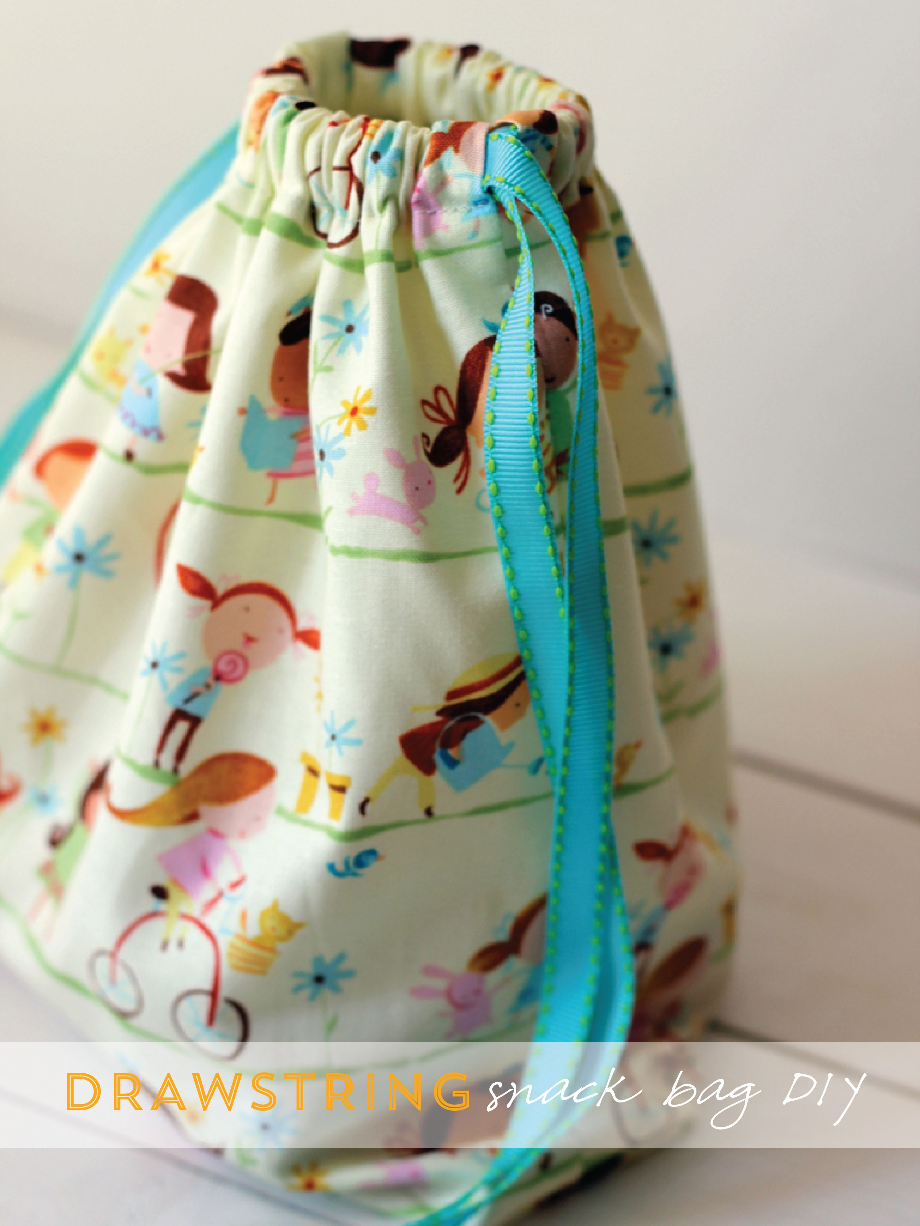 Diy project drawstring snack bag diy sewing projects