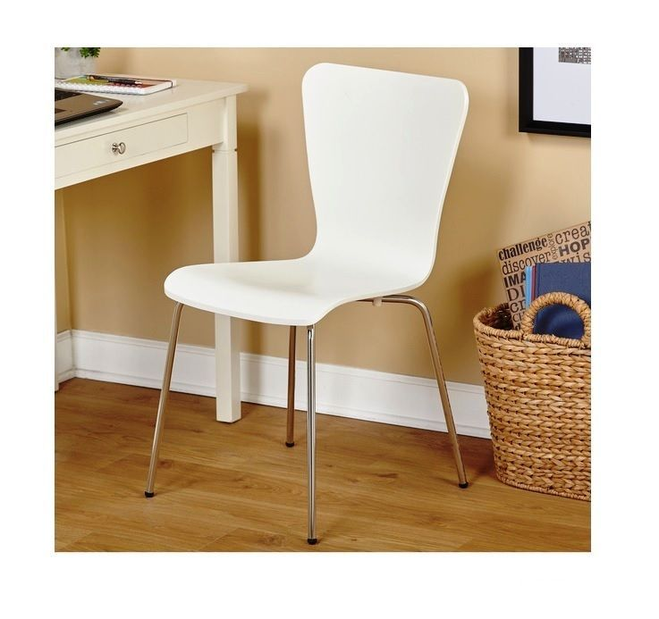 Beautiful Modern Retro Style Desk Chair Home Dorm Sturdy Wood Metal Office Furniture  Whiteu2026
