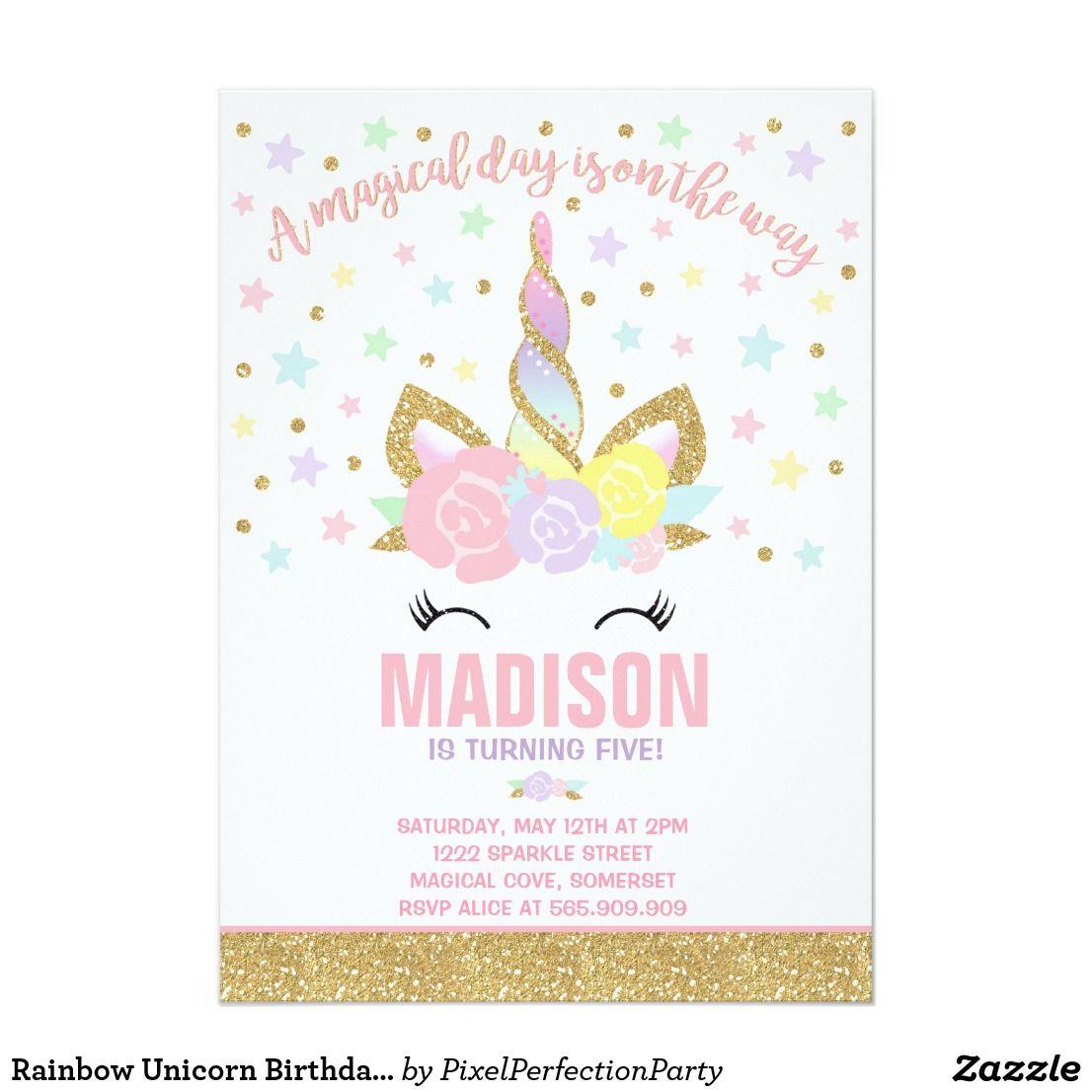 Rainbow unicorn birthday invitation pink gold unicorn birthday rainbow unicorn birthday invitation pink gold filmwisefo