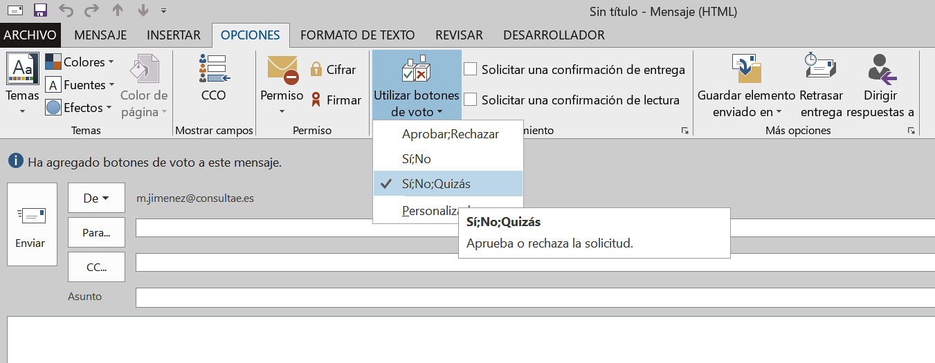 Realizar sondeos con Outlook