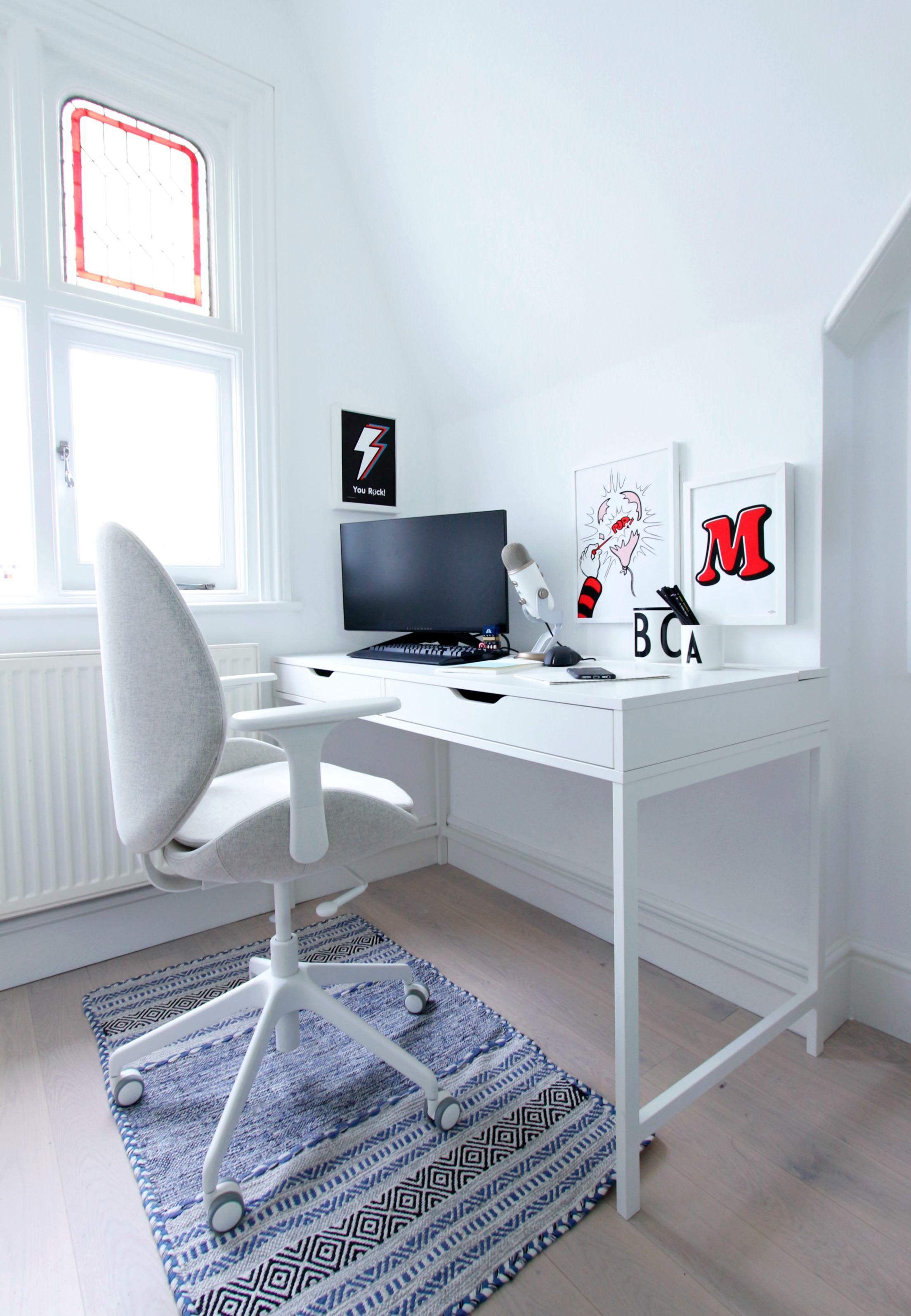 Ikea Alex Desk in white in 2020 Tiny home office, Ikea
