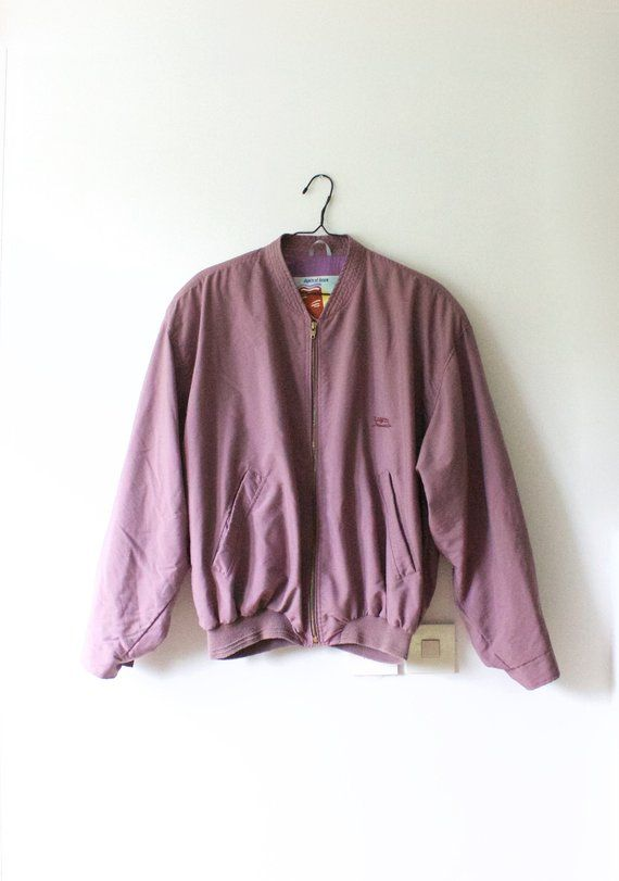 146604111 Vintage Men's Luhta Light Purple Bomber Jacket // Lightweight Zip Up ...