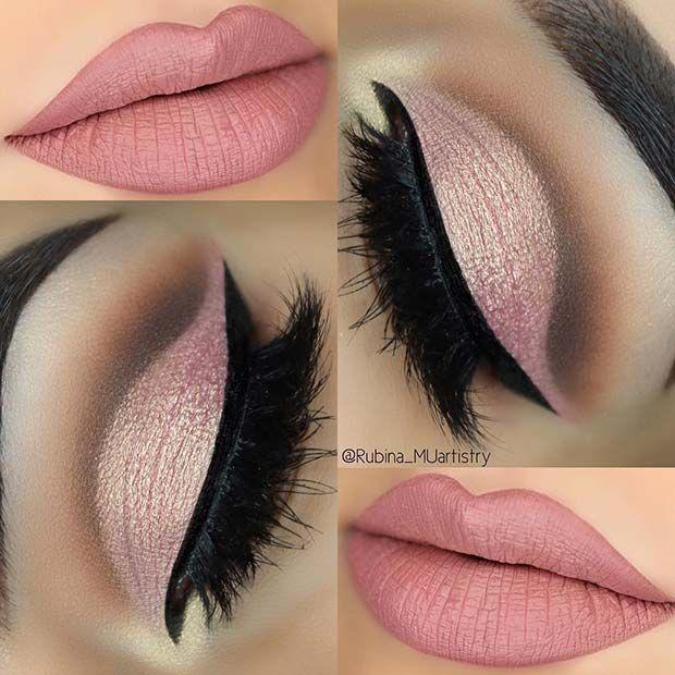 Weiche rosa Augen und Lippen für sommerliche Make-up-Ideen – www.luxury.guugle …