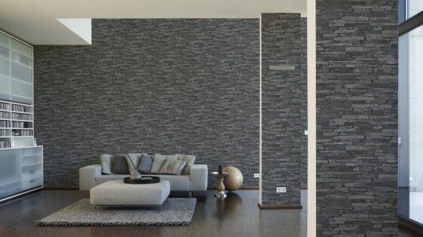 Vliestapete grau schwarz Steine AS Creation 9142-24 Steintapeten - graue wand und stein