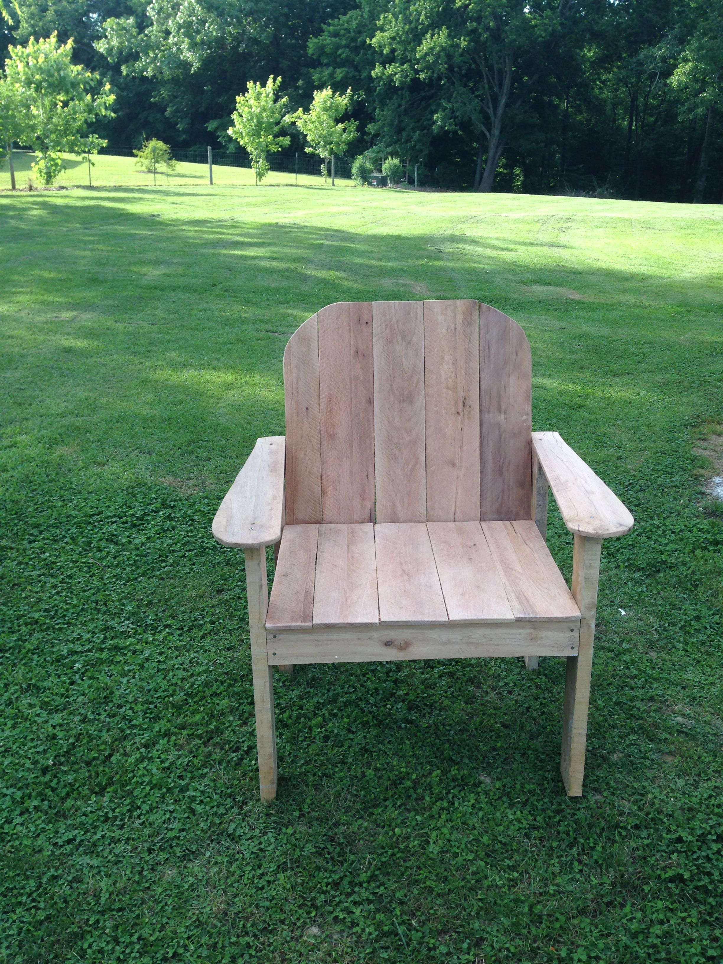 Lawn chair made from recycled pallet wood.