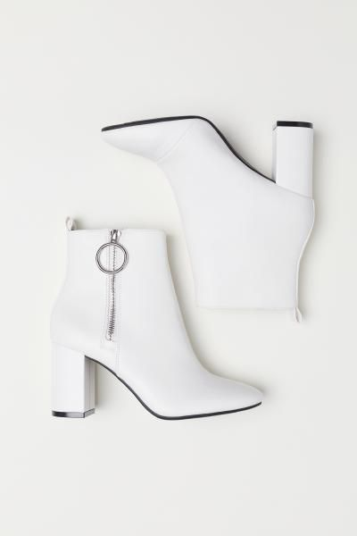 Ankle Boots with Zip - White - Ladies