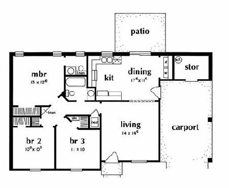 House Plan 046 00004 Ranch Plan 988 Square Feet 3 Bedrooms 15