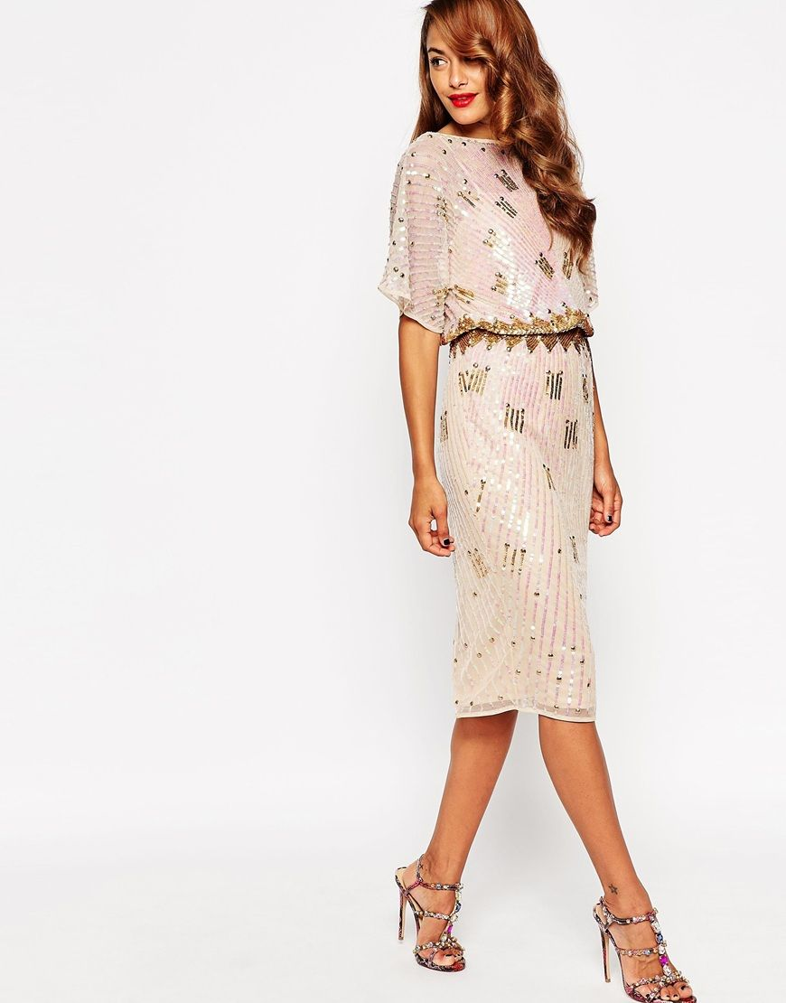 255764fc44a Image 4 of ASOS RED CARPET Midi Kimono With Holographic Sequins Casual  Dresses
