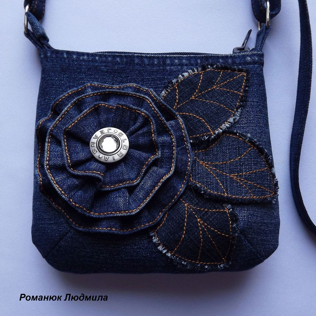 Dark blue crossbody womens recycled jeans bag. Beautiful