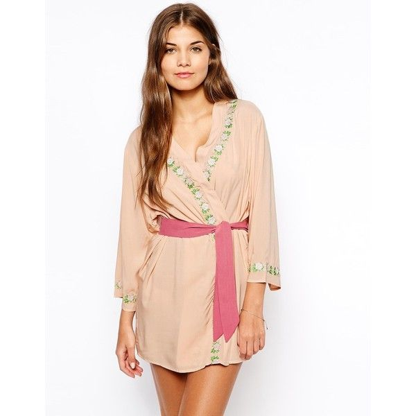 ASOS Elise Embroidered Robe ($57) ❤ liked on Polyvore featuring ...
