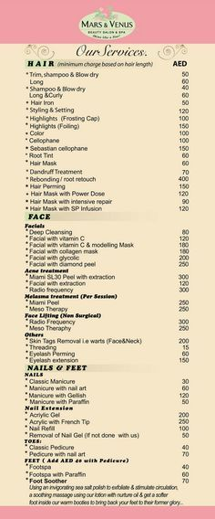 FILIPINO IN UAE Mars Venus Beauty Salon \/ Spa Brochure Rate   Sample Spa  Menu