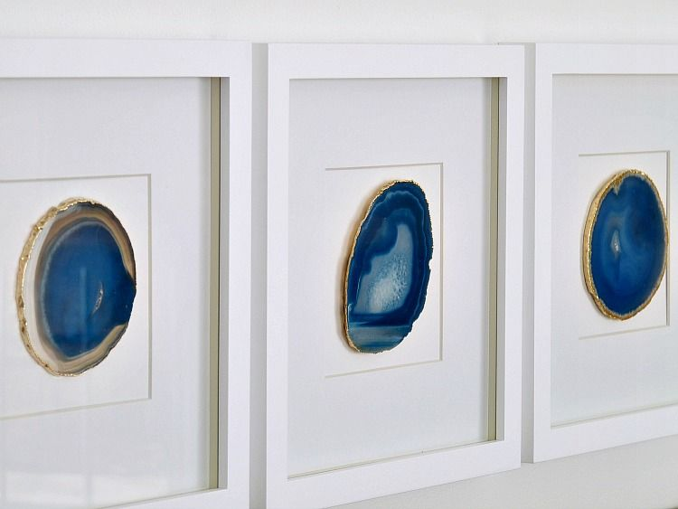 Diy Agate Art Framed Blue Agate Slices Diy Frame Knock Off