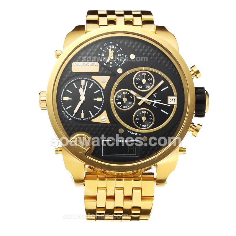 diesel 3 bar four time zone working chronograph full. Black Bedroom Furniture Sets. Home Design Ideas