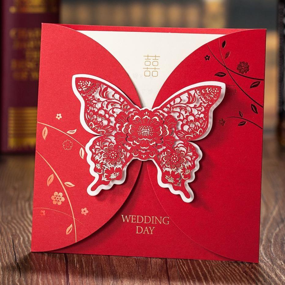 Luxurious Laser cut Embossed bướm cưới Lời mời chào thẻ In ấn cá ...