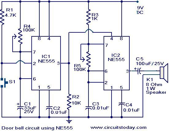 door bell circuit using ne555 - electronic circuits and ... electronic bell circuit diagram electronic circuit diagram free