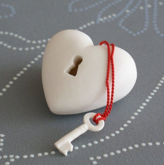 Porcelain Heart and Key from ArtMind on etsy.com