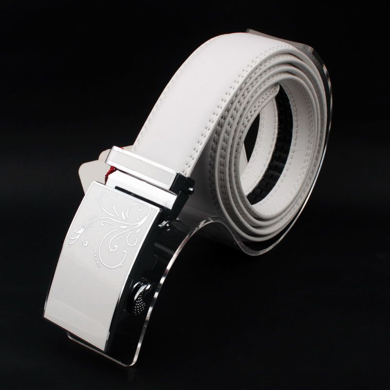 Cheap High Quality Genuine Leather Belt Brand Luxury Fine Leather Belt White Automatic Buckle Waistband Casual Belts