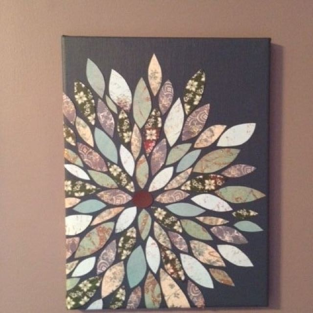 Cool Decore Idea Uses Scrap Boon Paper Cut Into Petals And A Painted Canvas