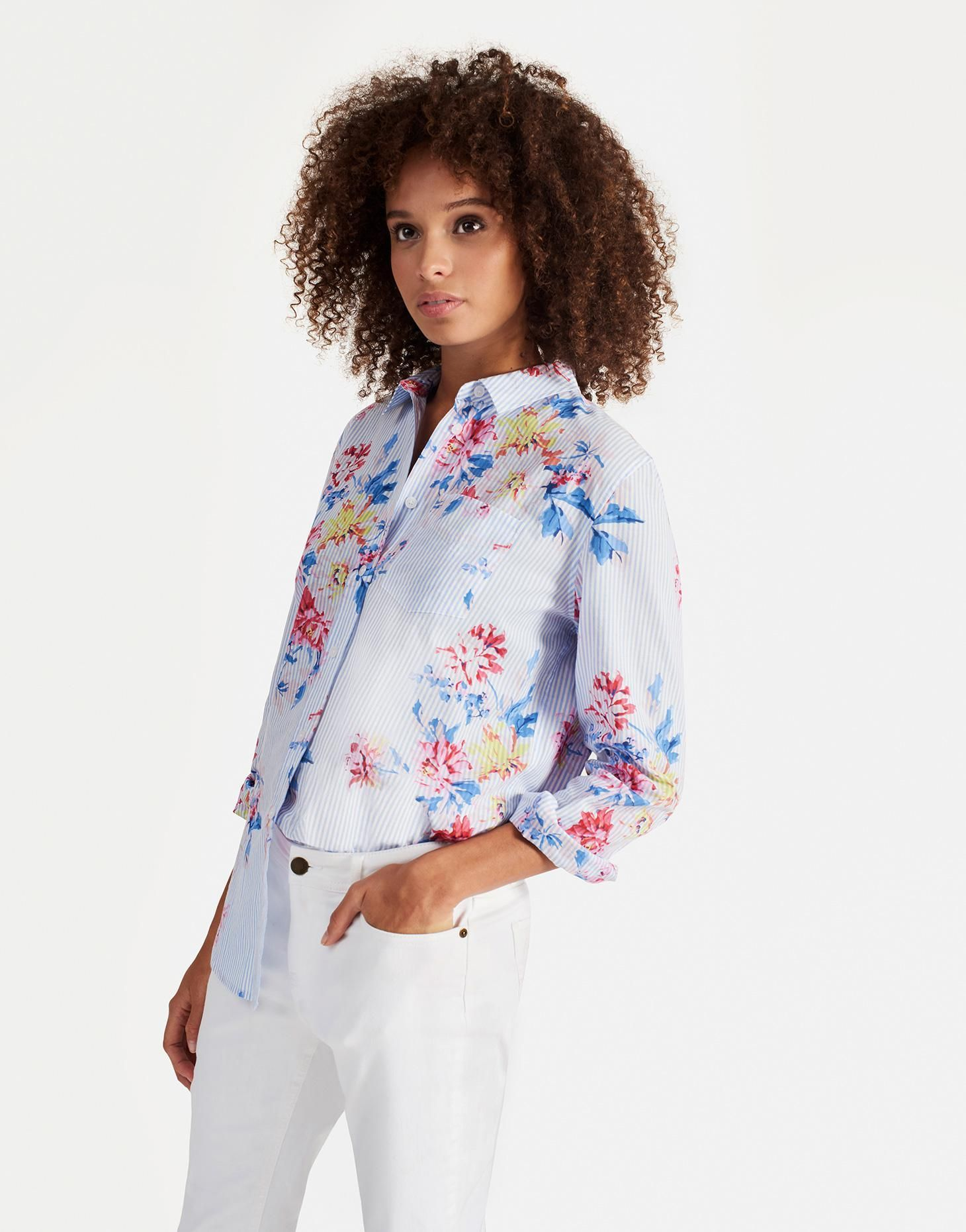 e03550a919deea Laurel cotton Blue Stripe Whitstable Floral Longline Shirt