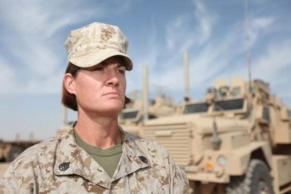 Marine Staff Sergeant Jaclyn S. Potter was commander of the 3d Platoon, General Support Transportation Company Combat Logistics Regiment 15 (Forward), 1st Marine Logistics Group (Forward). The Marine Corps caption accompanying this photo indicates that it is rare for an enlisted Marine to be selected for this billet, but Potter was chosen.